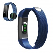 Smart Band ID115 HR Bluetooth Wristband Heart Rate Monitor Fitness Tracker Pedometer Bracelet - Blue
