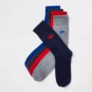 River Island Multipack grijze sokken met geborduurde dinosaurussen Heren