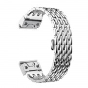 Stainless Steel Bracelet Dragon Vein Woven Watch Band with Buckle for Garmin Fenix 5X 26mm - Silver