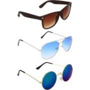 Abner Wayfarer, Aviator, Round Sunglasses(Brown, Blue, Multicolor)