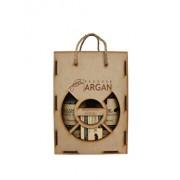 Set cadou rustic cutie lemn (Sampon cu ulei de argan Argana 400ml + Balsam par cu ulei de argan Argana 400ml + Sapun Argana 40gr)