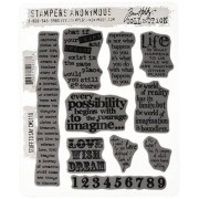 Stampers Anonymous Tim Holtz Large Cling Rubber Stamp Set, Stuff To Say