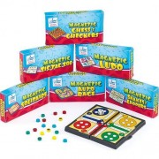 Baker Ross Magnetic Travel Games - 6 assorted games: Auto Race, Chess & Checkers, Tic Tac Toe, Ludo, Solitaire and Snakes & Ladders