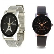Wenlong Black With IIk Crystle Glass Best Designing Stylist looking Combo Women/Girls Watch Pack Of 2