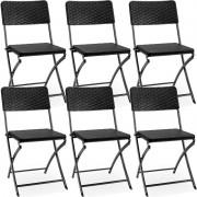 6 X Krzesło Ogrodowe Składane Czarne Biwak Camping