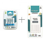 Envie 2800mAh 4 pcs rechargable battery and ECR 11 Speedster charger Combo pack