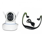 Zemini Wifi CCTV Camera and BS19C Bluetooth Headset for LG OPTIMUS L5 II(Wifi CCTV Camera with night vision  BS19C Bluetooth Headset With Mic )