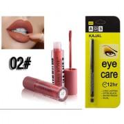 Miss Rose Liquid Matte Long Lasting Waterproof Lip gloss And ADS Extra Long Lasting Black Kajal - Combo 2