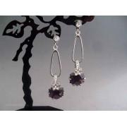 Cercei bijuterie argintii lungi cu piatra violet