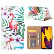 Flamingo print lederen Bookcase hoesje voor de Huawei P20 - Wit
