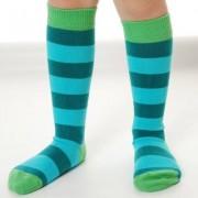Organic Kneehigh Sock Stripe Turquoise Petrol: 18-20