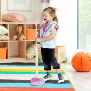 HOMCOM ® Micrófono Infantil con Pie Karaoke Máquina Kit de Altavoces Altura Ajustable con Conector de MP3