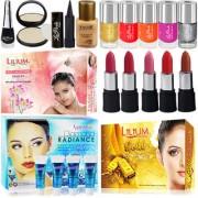 Skin Orgnaizer and Combo Makeup Sets 3 Facial Kit 5 Lipstick 5 Nail Paint Foundation Compact Eyeliner Kajal