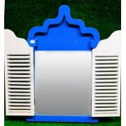 Fereastra cu oglinda alb-albastru