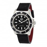 Shield Cousteau Leather-Band Pro-Diver Swiss Watch w/Date - Silver/Black SLDSH0804