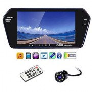 7 Inch Full HD Bluetooth LED Video Monitor Screen with USB Bluetooth + 8 LED Reverse Parking Camera for Cars