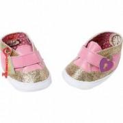 Pantofiori aurii cu roz pentru papusi BABY ANNABELL