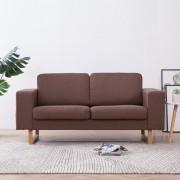 vidaXL 2-местен диван, текстил, кафяв