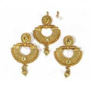 Golden Drop Stone Earring With Maang Tikka