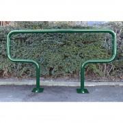 Fahrradanlehnbügel, 850 mm über Flur zum Aufdübeln T-förmig, Breite 1500 mm, grün