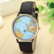 Pari Designerr Mini World Map Unisex Stylish Denim Casual Wrist Watch