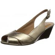 Clarks Women's Brielle Kae Gold Leather Fashion Sandals - 7 UK/India (41 EU)