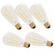 [in.tec]® 5 x Diseño Retro Lámpara Edison, bombilla de filamento diseño tradicional - E27 / 230 V / 40 W / 150lm - Regulable - blanco cálido (2700K)
