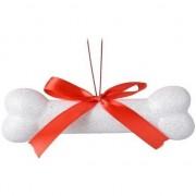 Decoris Kerst hangdecoratie wit hondenbotje 14 cm met glitters
