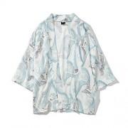 DishyKooker Unisex Vintage Ukiyo-E Patr¨®n Kimono Camisas de Algod¨®n de Manga Suelta Tops Crane White S