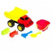 Set camion de plastic rosu cu accesorii galbene 6 bucati