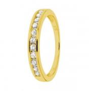 Demi-alliance diamants sertis rails en or jaune
