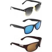 Zyaden Clubmaster, Wayfarer, Wrap-around Sunglasses(Black, Blue, Brown)
