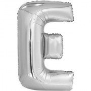 Stylewell 16 Inch Alphabet (E) Soild (Silver) Color 3D Foil Balloons For Birthday And Anniversary Parties Decoration