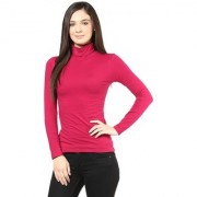 Hypernation Turtle Neck Red Long Sleeve Cotton T-shirt