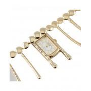 Unique Row - Guldfärgad Klocka med Vit Urtavla