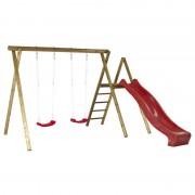Plus Danmark Schommelframe vuren geimpregneerd Ladder 2 schommelplanken + glijbaan rood