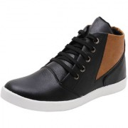 Mochiwala Men's Synthetic Leather Lace-Up Sneakers Boot Black PI19