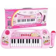 Orga Electronica cu 25 Clape si Microfon pentru Copii Culoare Roz