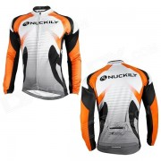 NUCKILY NJ528-W ciclismo bicicleta ciclismo manga larga jersey-naranja + negro + blanco (talla XL)