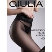 Mönstrad strumpbyxa med spetsresår och silikonband Impresso Rete Vision från Giulia nero L
