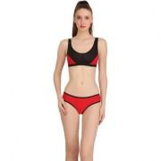 Fashion Comfortz Red Cotton Lycra Plain One Piece