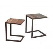 Lot de 2 tables gigognes RECOVER en bois recyclés