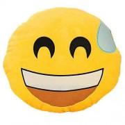 Soft Smiley Emoticon Yellow Round Cushion Pillow Stuffed Plush Toy Doll (Nervous)
