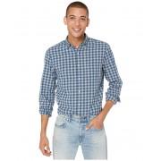 JCrew Slim Stretch Secret Wash Shirt in Organic Cotton Gingham Graphite Navy