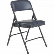 National Public Seating Steel Folding Chairs with Vinyl Padded Seat and Back - Set of 4, Midnight Blue/Char-Blue, Model 1204