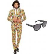 Confetti print heren kostuum / pak - maat 46 (S) met gratis zonnebril