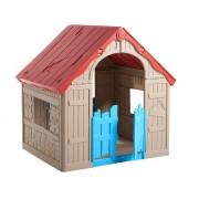 Keter Wonderfold - opvouwbaar speelhuis - beige/rood