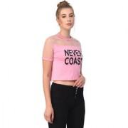 Raabta Womens Upper Net Baby Pink NEVER COAST Printed Top