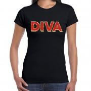 Bellatio Decorations DIVA fun tekst t-shirt zwart met 3D effect voor dames