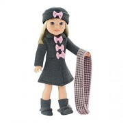 14 Inch Doll Clothes/Clothing | Lovely Grey and Pink Coat Outfit, Includes Incredible Matching Hat and Boots and Perfect Hounds Tooth Scarf | Fits American Girl Wellie Wishers Dolls by Emily Rose Doll Clothes